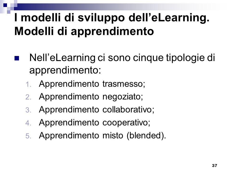 37 I modelli di sviluppo delleLearning. Modelli di apprendimento NelleLearning ci sono cinque tipologie di apprendimento: 1. Apprendimento trasmesso;