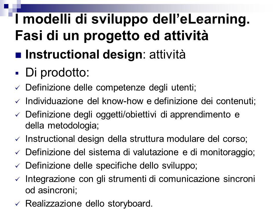I modelli di sviluppo delleLearning. Fasi di un progetto ed attività Instructional design: attività Di prodotto: Definizione delle competenze degli ut