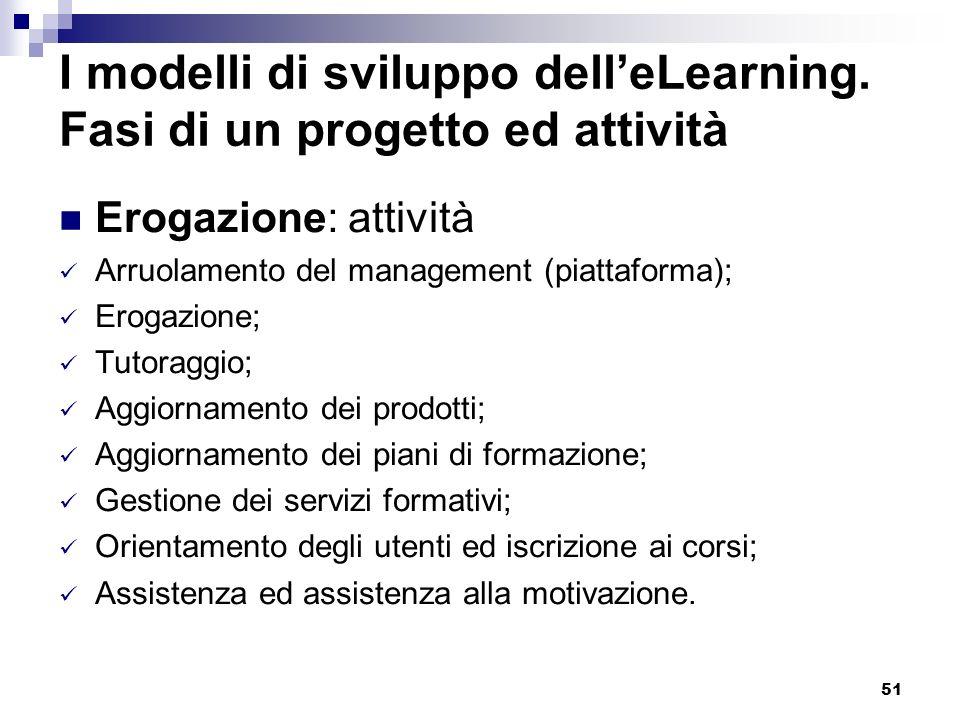 51 I modelli di sviluppo delleLearning. Fasi di un progetto ed attività Erogazione: attività Arruolamento del management (piattaforma); Erogazione; Tu