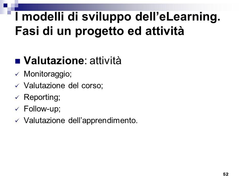 52 I modelli di sviluppo delleLearning. Fasi di un progetto ed attività Valutazione: attività Monitoraggio; Valutazione del corso; Reporting; Follow-u
