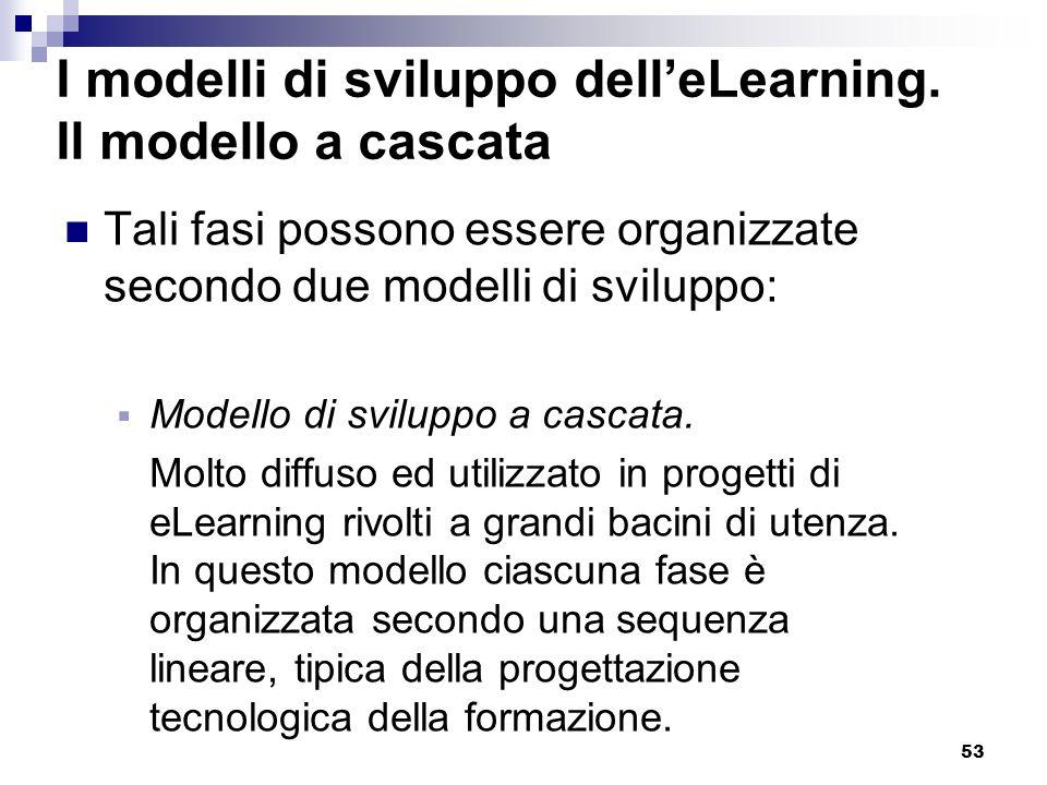 53 I modelli di sviluppo delleLearning. Il modello a cascata Tali fasi possono essere organizzate secondo due modelli di sviluppo: Modello di sviluppo