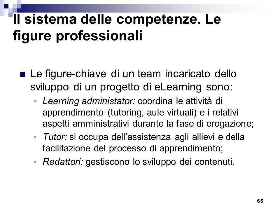 65 Il sistema delle competenze. Le figure professionali Le figure-chiave di un team incaricato dello sviluppo di un progetto di eLearning sono: Learni