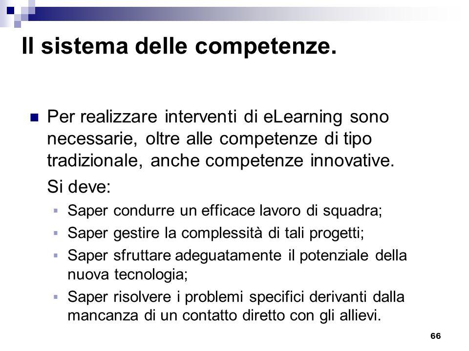 66 Il sistema delle competenze. Per realizzare interventi di eLearning sono necessarie, oltre alle competenze di tipo tradizionale, anche competenze i