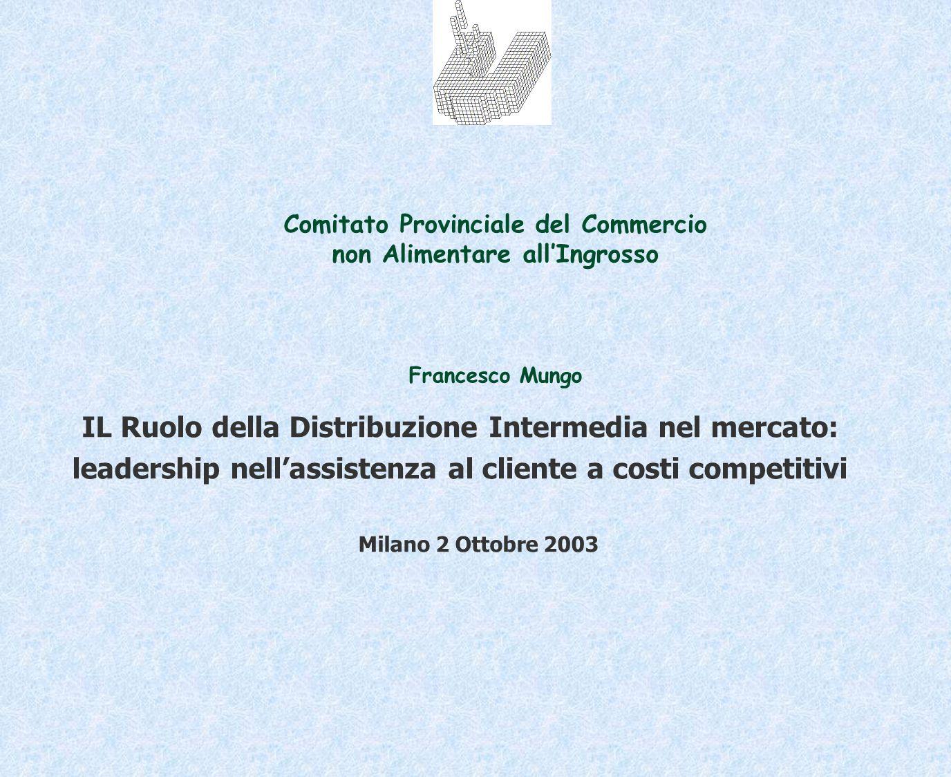 IL Ruolo della Distribuzione Intermedia nel mercato: leadership nellassistenza al cliente a costi competitivi Milano 2 Ottobre 2003 Comitato Provincia