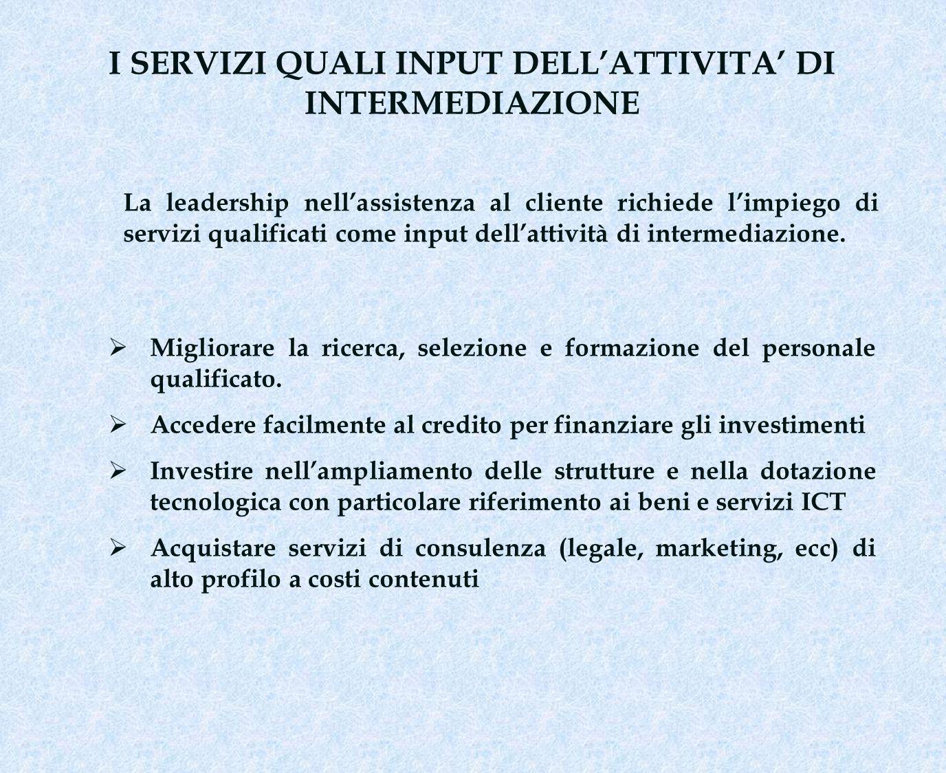 I SERVIZI QUALI INPUT DELLATTIVITA DI INTERMEDIAZIONE Migliorare la ricerca, selezione e formazione del personale qualificato. Accedere facilmente al