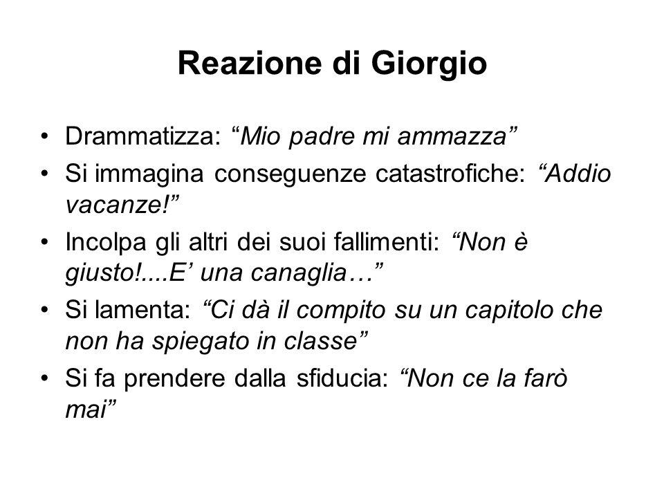 Reazione di Giorgio Drammatizza: Mio padre mi ammazza Si immagina conseguenze catastrofiche: Addio vacanze! Incolpa gli altri dei suoi fallimenti: Non