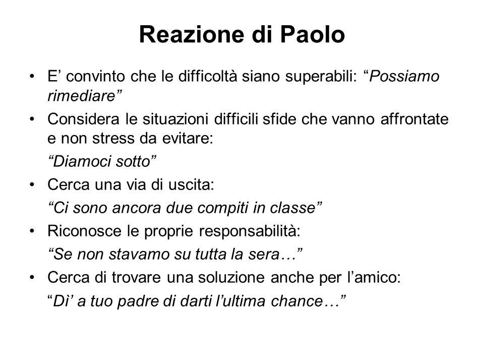 Reazione di Paolo E convinto che le difficoltà siano superabili: Possiamo rimediare Considera le situazioni difficili sfide che vanno affrontate e non