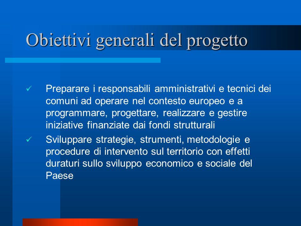 Obiettivi generali del progetto Preparare i responsabili amministrativi e tecnici dei comuni ad operare nel contesto europeo e a programmare, progetta
