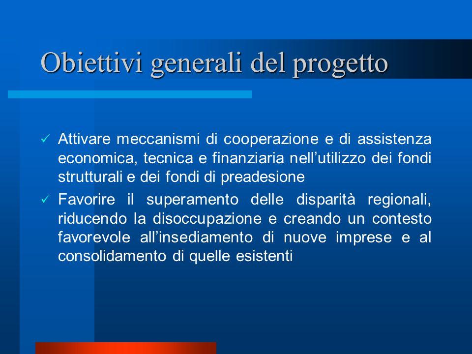 Obiettivi generali del progetto Attivare meccanismi di cooperazione e di assistenza economica, tecnica e finanziaria nellutilizzo dei fondi struttural