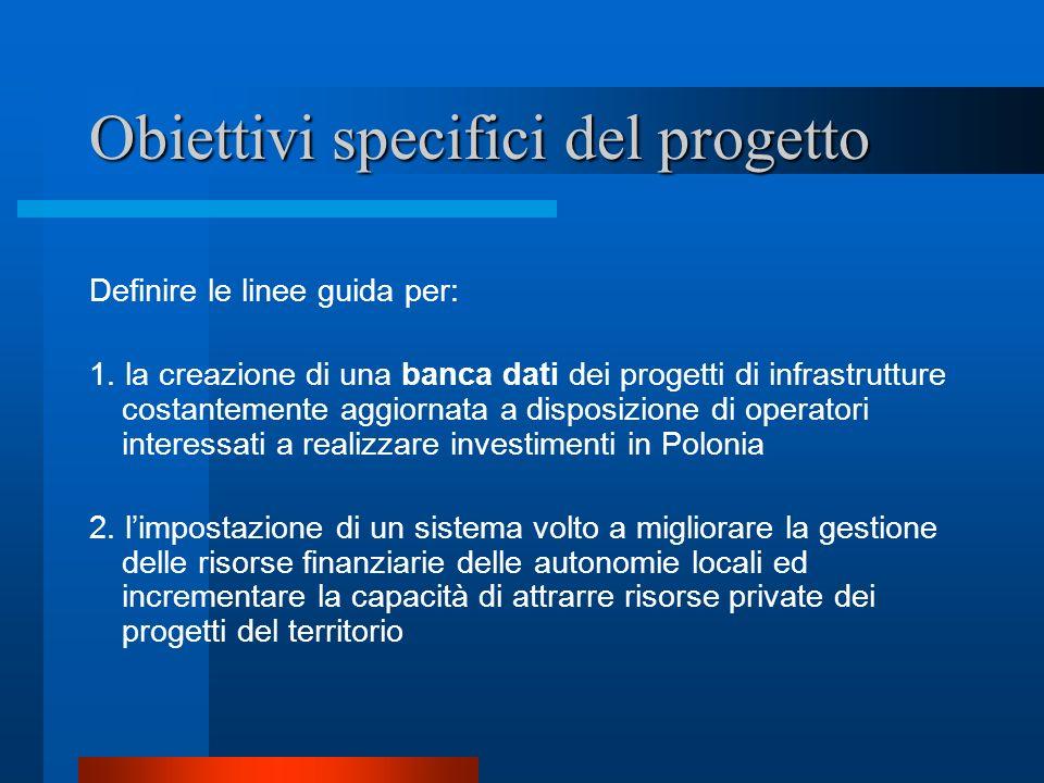Obiettivi specifici del progetto Definire le linee guida per: 1. la creazione di una banca dati dei progetti di infrastrutture costantemente aggiornat