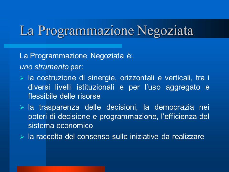 La Programmazione Negoziata La Programmazione Negoziata è: uno strumento per: la costruzione di sinergie, orizzontali e verticali, tra i diversi livel