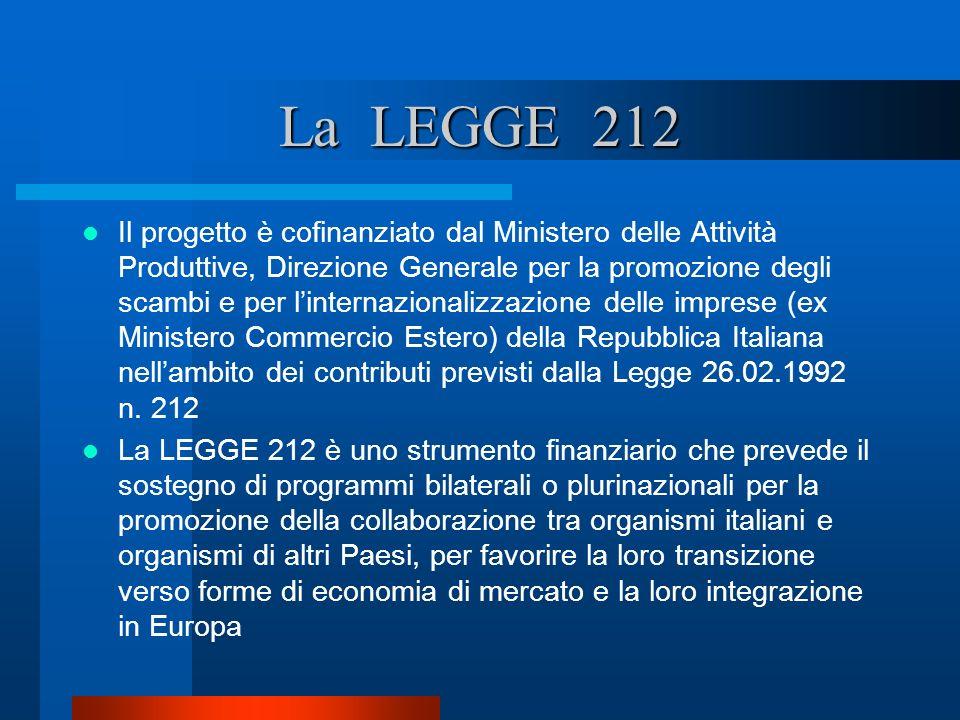 La LEGGE 212 Il progetto è cofinanziato dal Ministero delle Attività Produttive, Direzione Generale per la promozione degli scambi e per linternaziona