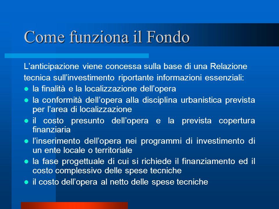 Come funziona il Fondo Lanticipazione viene concessa sulla base di una Relazione tecnica sullinvestimento riportante informazioni essenziali: la final