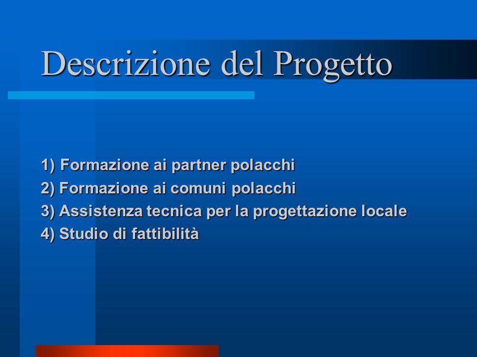 Descrizione del Progetto 1) Formazione ai partner polacchi 2) Formazione ai comuni polacchi 3) Assistenza tecnica per la progettazione locale 4) Studi