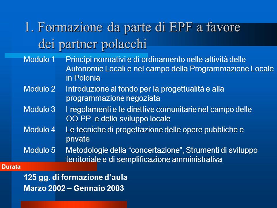 1. Formazione da parte di EPF a favore dei partner polacchi Modulo 1 Princìpi normativi e di ordinamento nelle attività delle Autonomie Locali e nel c