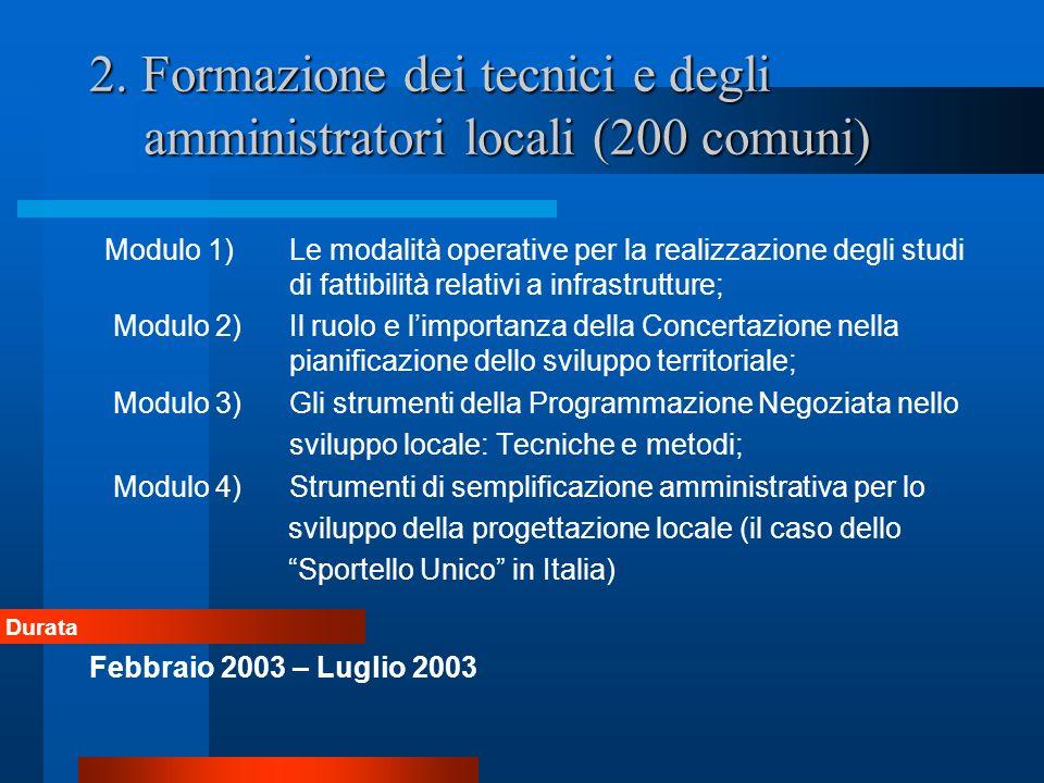 2. Formazione dei tecnici e degli amministratori locali (200 comuni) Modulo 1) Le modalità operative per la realizzazione degli studi di fattibilità r