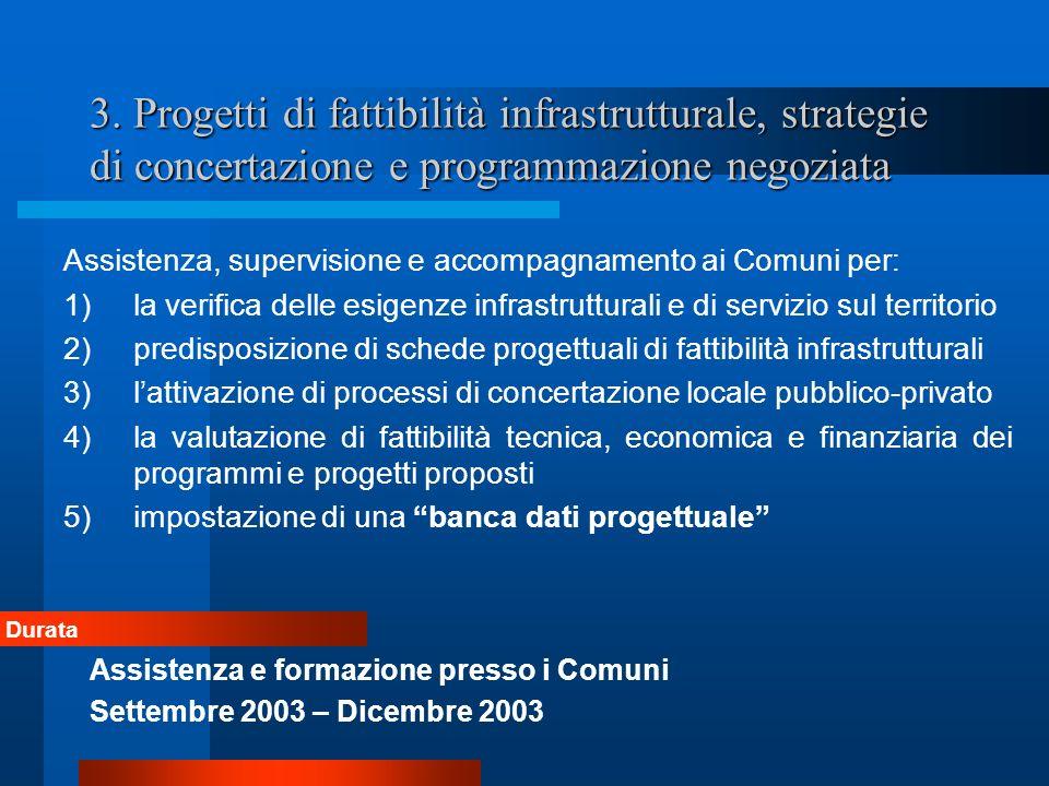 3. Progetti di fattibilità infrastrutturale, strategie di concertazione e programmazione negoziata Assistenza, supervisione e accompagnamento ai Comun