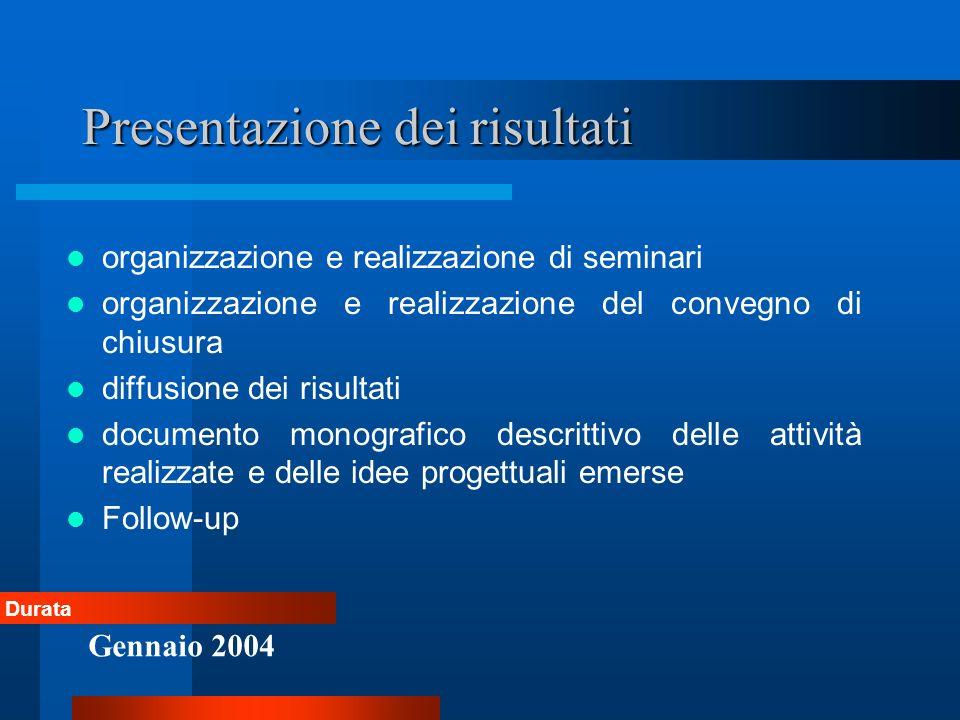 Presentazione dei risultati organizzazione e realizzazione di seminari organizzazione e realizzazione del convegno di chiusura diffusione dei risultat
