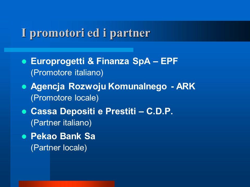 I promotori ed i partner Europrogetti & Finanza SpA – EPF (Promotore italiano) Agencja Rozwoju Komunalnego - ARK (Promotore locale) Cassa Depositi e P