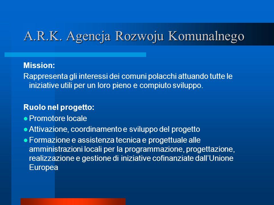 A.R.K. Agencja Rozwoju Komunalnego Mission: Rappresenta gli interessi dei comuni polacchi attuando tutte le iniziative utili per un loro pieno e compi
