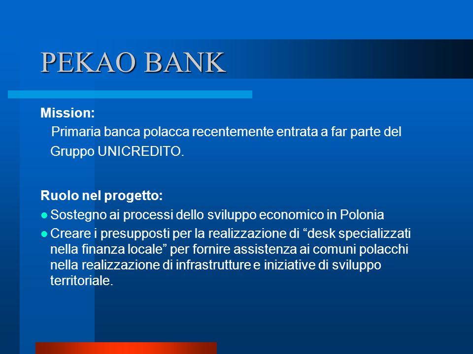 PEKAO BANK Mission: Primaria banca polacca recentemente entrata a far parte del Gruppo UNICREDITO. Ruolo nel progetto: Sostegno ai processi dello svil