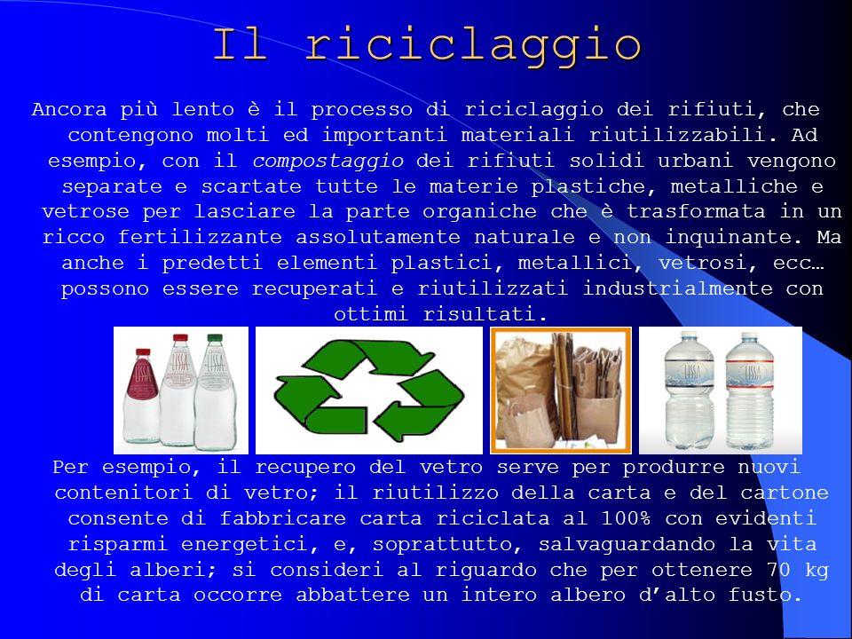 Il riciclaggio Ancora più lento è il processo di riciclaggio dei rifiuti, che contengono molti ed importanti materiali riutilizzabili. Ad esempio, con