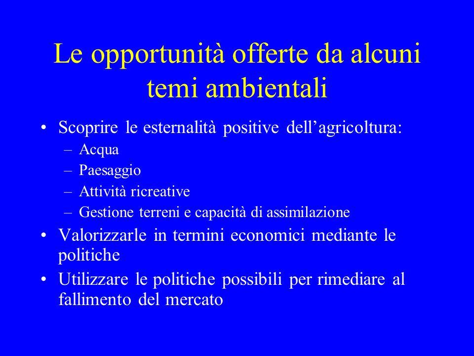 Le opportunità offerte da alcuni temi ambientali Scoprire le esternalità positive dellagricoltura: –Acqua –Paesaggio –Attività ricreative –Gestione te