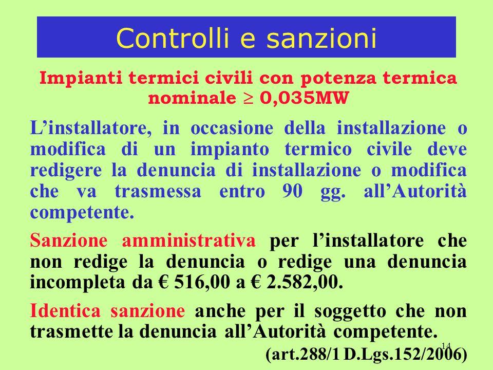 14 Impianti termici civili con potenza termica nominale 0,035MW Linstallatore, in occasione della installazione o modifica di un impianto termico civile deve redigere la denuncia di installazione o modifica che va trasmessa entro 90 gg.