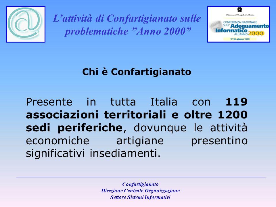 Lattività di Confartigianato sulle problematiche Anno 2000 Confartigianato Direzione Centrale Organizzazione Settore Sistemi Informativi Chi è Confartigianato 870 sono i tipi di attività svolte da imprese artigiane, che confluiscono in 10 Federazioni dArea e 63 Associazioni di categoria.