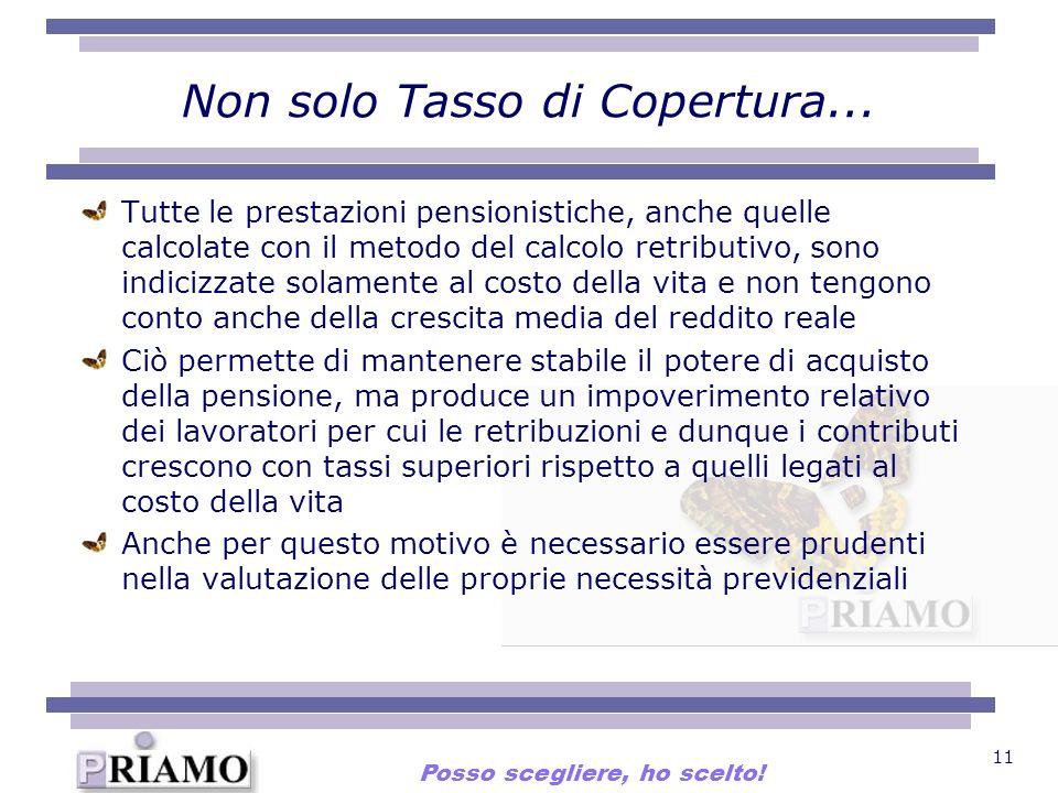 11 Non solo Tasso di Copertura... Tutte le prestazioni pensionistiche, anche quelle calcolate con il metodo del calcolo retributivo, sono indicizzate