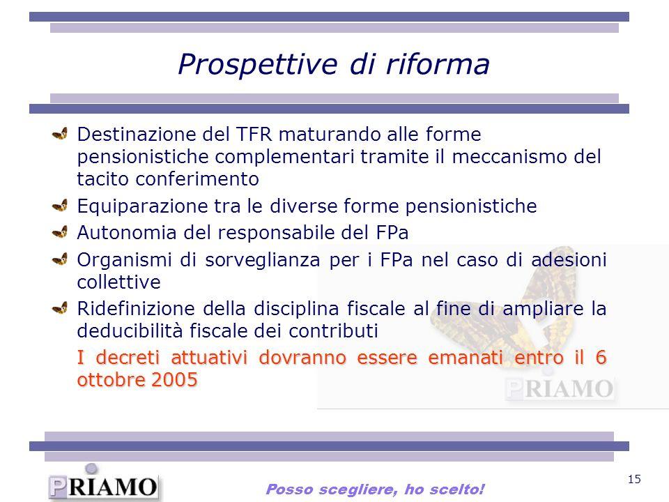 15 Prospettive di riforma Destinazione del TFR maturando alle forme pensionistiche complementari tramite il meccanismo del tacito conferimento Equipar