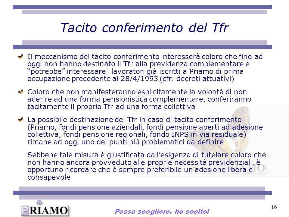 16 Tacito conferimento del Tfr Il meccanismo del tacito conferimento interesserà coloro che fino ad oggi non hanno destinato il Tfr alla previdenza co