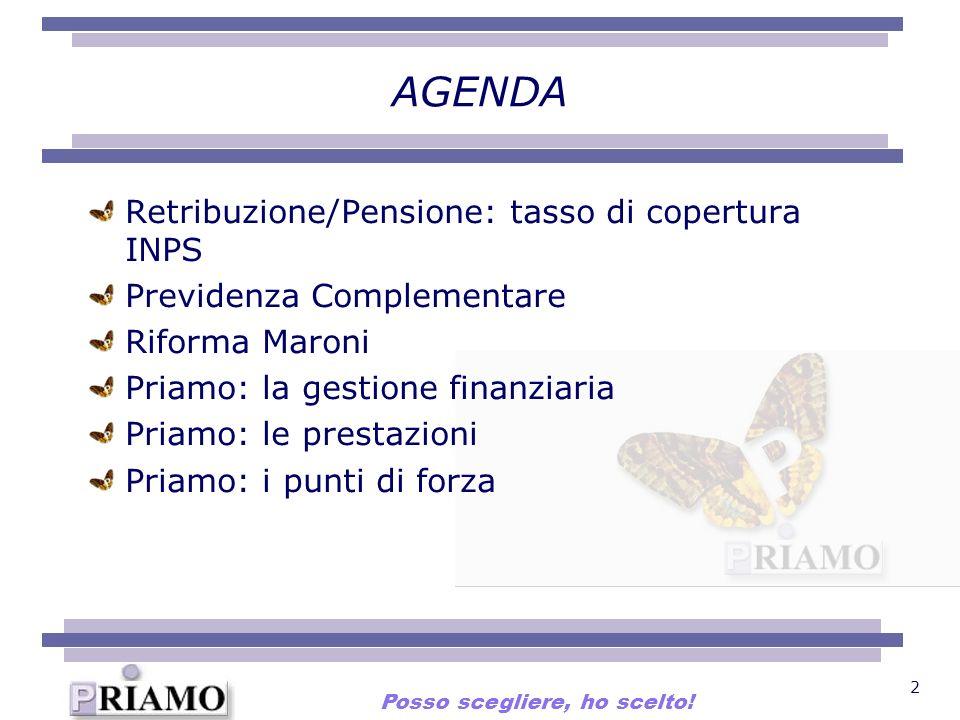 2 AGENDA Retribuzione/Pensione: tasso di copertura INPS Previdenza Complementare Riforma Maroni Priamo: la gestione finanziaria Priamo: le prestazioni