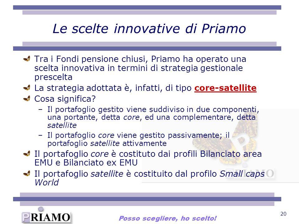 20 Le scelte innovative di Priamo Tra i Fondi pensione chiusi, Priamo ha operato una scelta innovativa in termini di strategia gestionale prescelta La