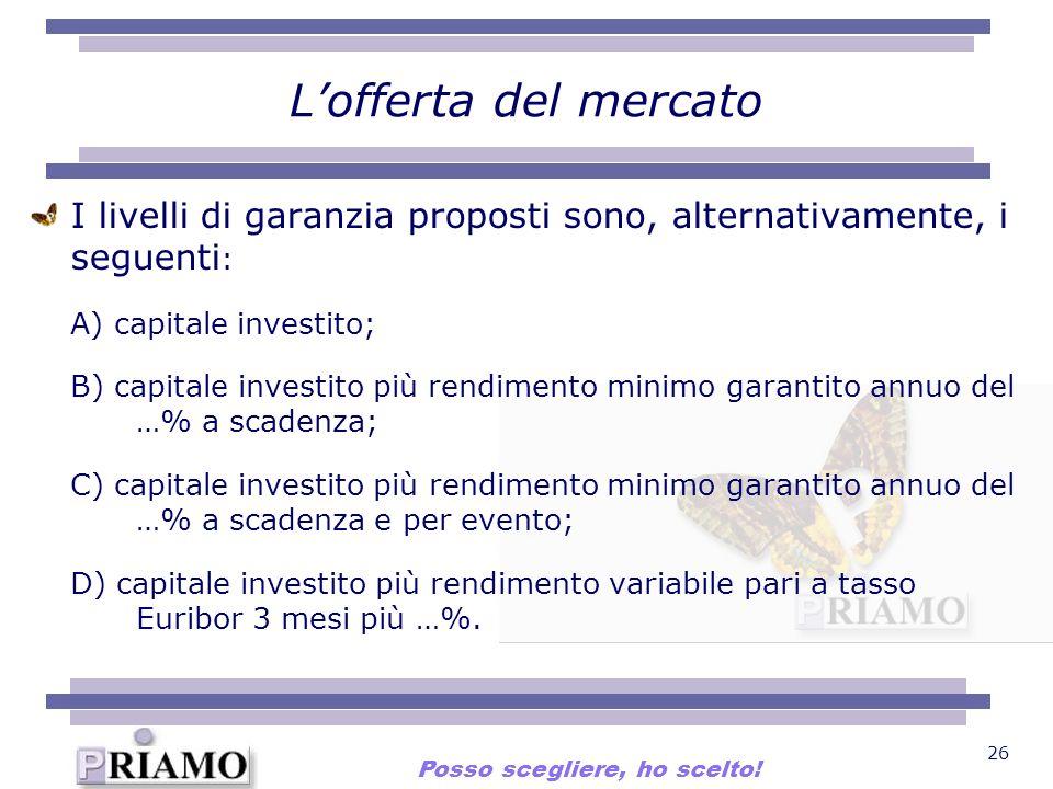 26 Lofferta del mercato I livelli di garanzia proposti sono, alternativamente, i seguenti : A) capitale investito; B) capitale investito più rendiment