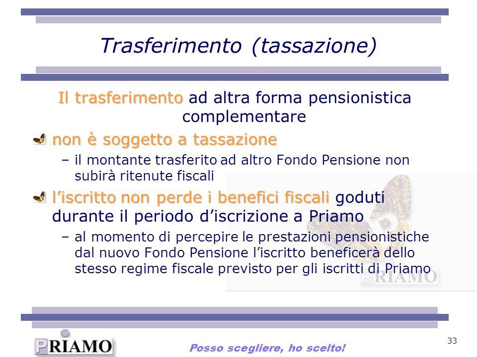 33 Trasferimento (tassazione) Il trasferimento Il trasferimento ad altra forma pensionistica complementare non è soggetto a tassazione –il montante tr