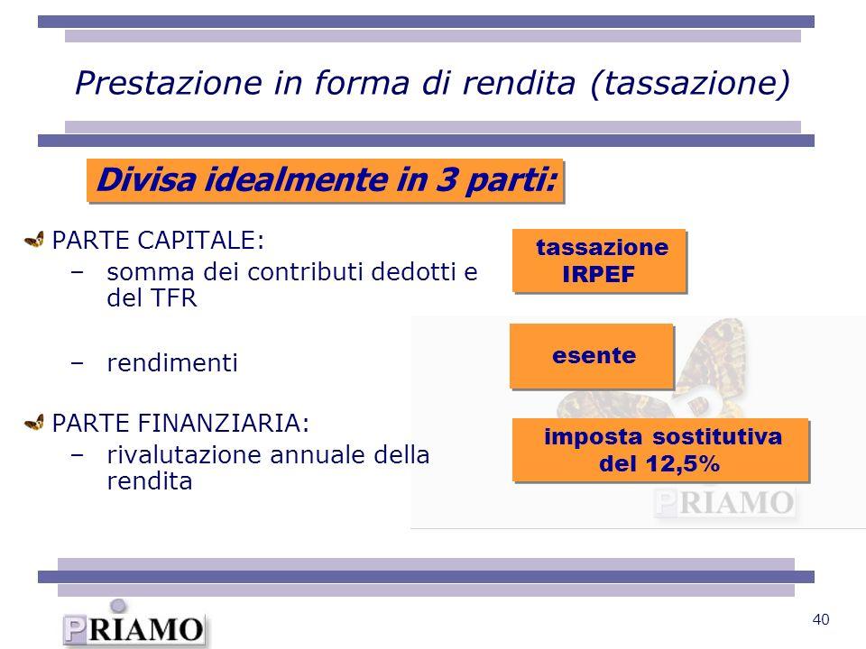 40 PARTE CAPITALE: –somma dei contributi dedotti e del TFR –rendimenti PARTE FINANZIARIA: –rivalutazione annuale della rendita tassazione IRPEF esente