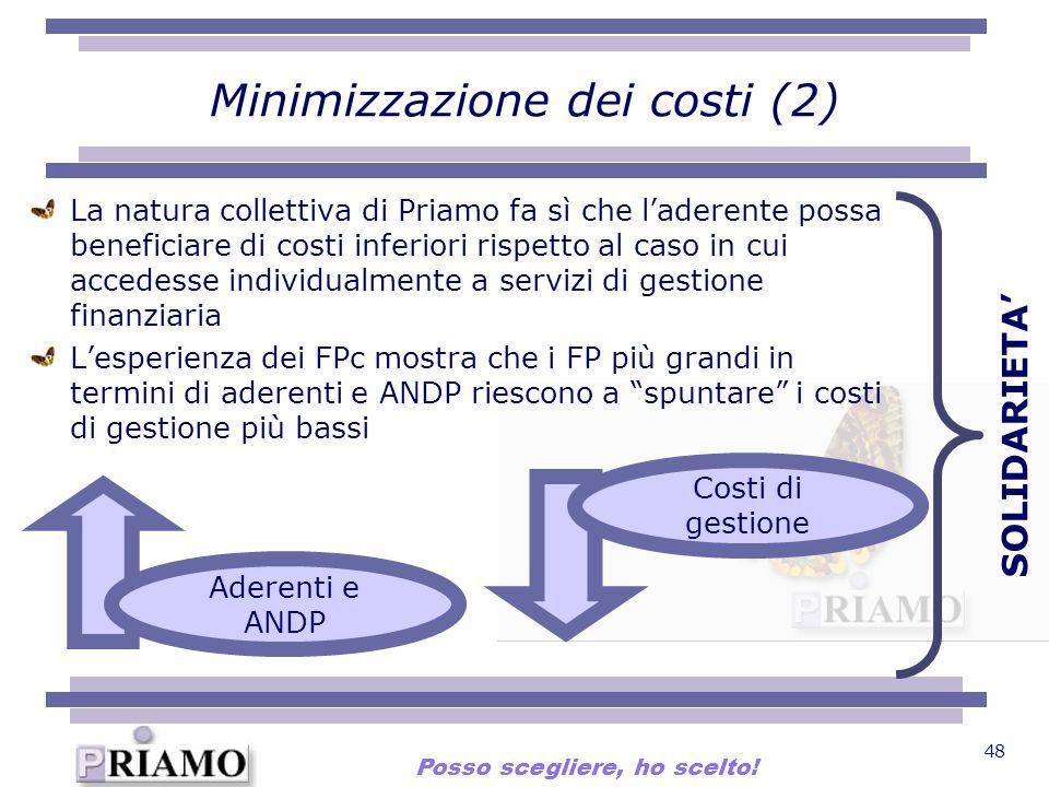 48 Minimizzazione dei costi (2) La natura collettiva di Priamo fa sì che laderente possa beneficiare di costi inferiori rispetto al caso in cui accede