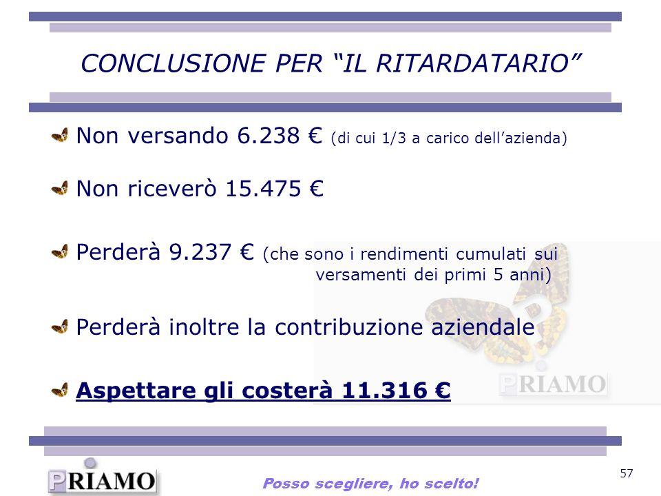 57 CONCLUSIONE PER IL RITARDATARIO Non versando 6.238 (di cui 1/3 a carico dellazienda) Non riceverò 15.475 Perderà 9.237 (che sono i rendimenti cumul