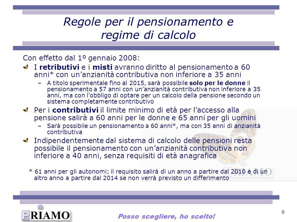 6 Regole per il pensionamento e regime di calcolo Con effetto dal 1º gennaio 2008: I retributivi e i misti avranno diritto al pensionamento a 60 anni*