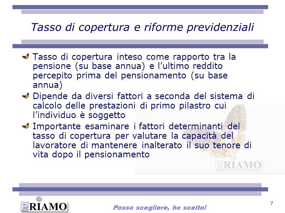 7 Tasso di copertura e riforme previdenziali Tasso di copertura inteso come rapporto tra la pensione (su base annua) e lultimo reddito percepito prima