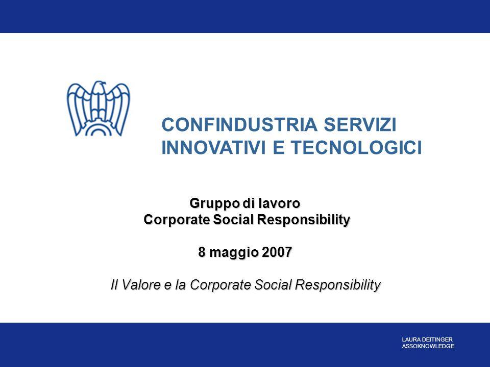 Gruppo di lavoro Corporate Social Responsibility 8 maggio 2007 Il Valore e la Corporate Social Responsibility CONFINDUSTRIA SERVIZI INNOVATIVI E TECNO