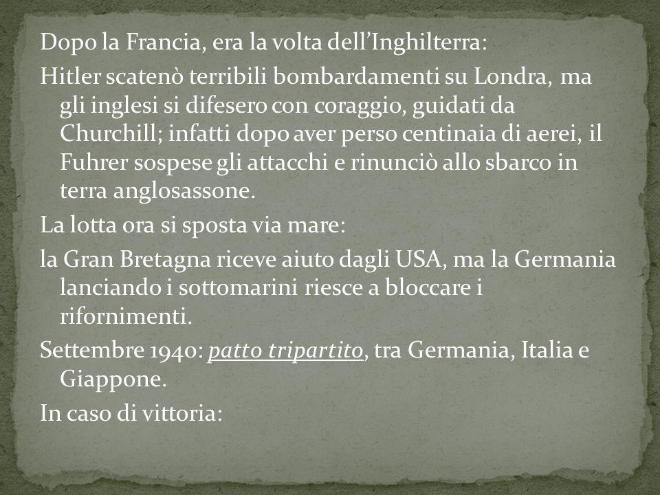 La Germania otteneva lEuropa continentale; LItalia otteneva il Mediterraneo; Il Giappone avrebbe ottenuto lAsia.