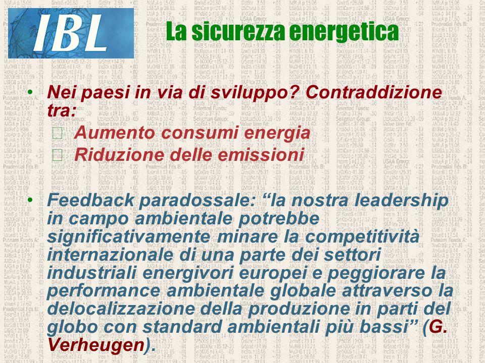 Nei paesi in via di sviluppo? Contraddizione tra: Aumento consumi energia Riduzione delle emissioni Feedback paradossale: la nostra leadership in camp