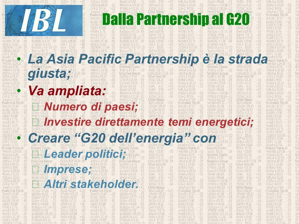 La Asia Pacific Partnership è la strada giusta; Va ampliata: Numero di paesi; Investire direttamente temi energetici; Creare G20 dellenergia con Leade