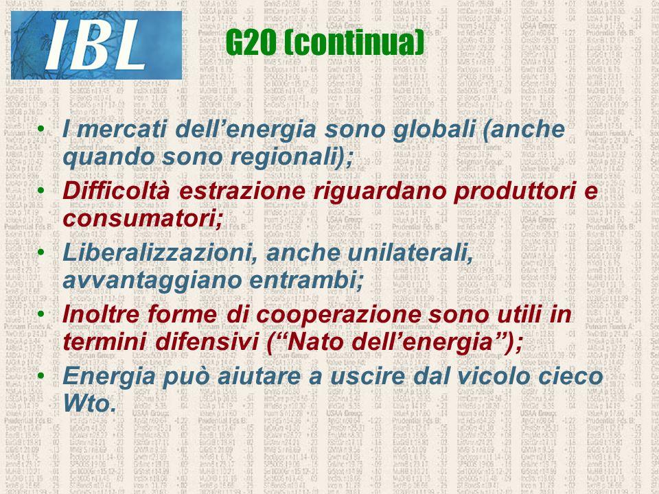 I mercati dellenergia sono globali (anche quando sono regionali); Difficoltà estrazione riguardano produttori e consumatori; Liberalizzazioni, anche u