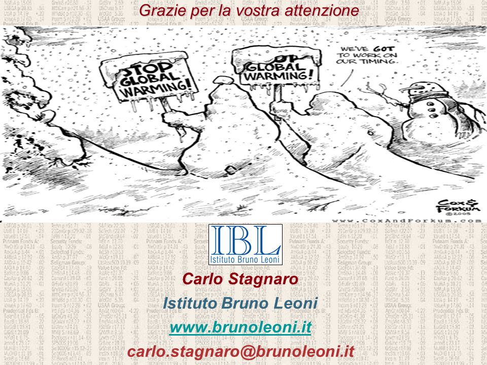 Grazie per la vostra attenzione Carlo Stagnaro Istituto Bruno Leoni www.brunoleoni.it carlo.stagnaro@brunoleoni.it Carlo Stagnaro Istituto Bruno Leoni