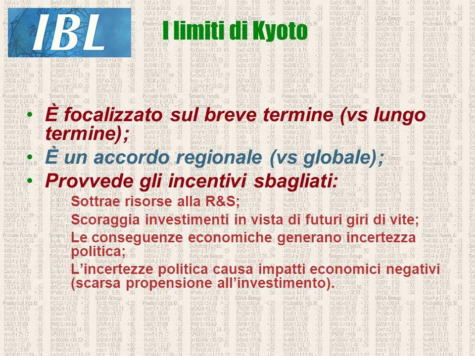 È focalizzato sul breve termine (vs lungo termine); È un accordo regionale (vs globale); Provvede gli incentivi sbagliati: Sottrae risorse alla R&S; S