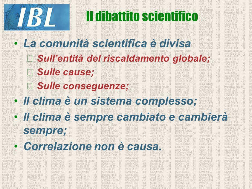La comunità scientifica è divisa Sullentità del riscaldamento globale; Sulle cause; Sulle conseguenze; Il clima è un sistema complesso; Il clima è sem