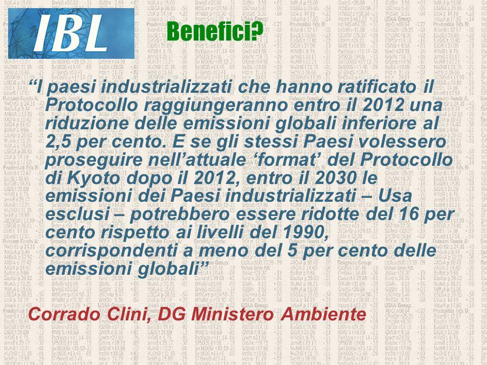 I paesi industrializzati che hanno ratificato il Protocollo raggiungeranno entro il 2012 una riduzione delle emissioni globali inferiore al 2,5 per ce